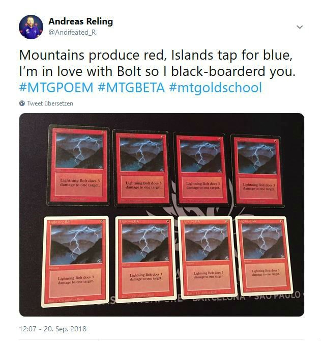Andifeated's Tweet about Loving Lightning Bolt